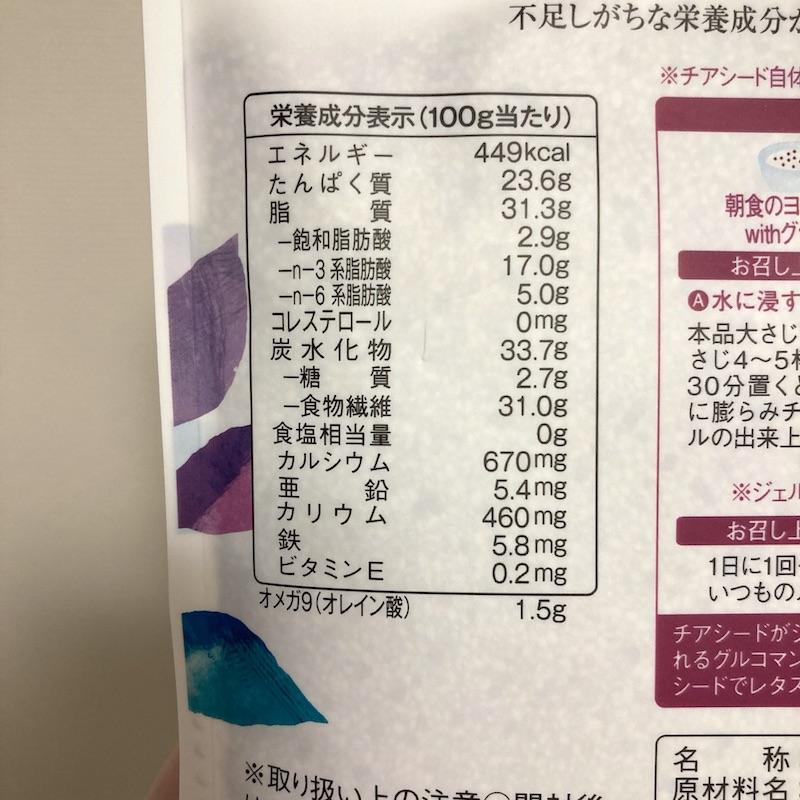SUPER FOODS JAPAN チアシードジャパンのマクロ栄養素